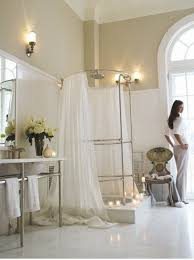 long shower curtain ideas in full white color for luxury bathroom
