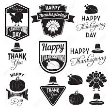set of thanksgiving clip tags labels and badges with