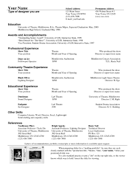 Theatrical Resume Sample by Musical Theater Resume Sample Resume For Your Job Application