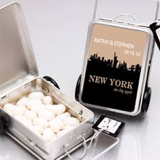 Nyc Wedding Favors by New York Personalized Suitcase Favor Tins Set Of 12 New York