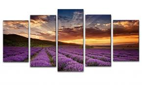 amazon com wieco art provence lavender modern 5 piece giclee