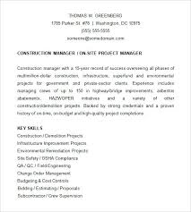construction project manager resume template word sample of a