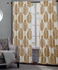 Gold And White Curtains Tahari Window Panels Draperies Curtains Set Of 2 Gold