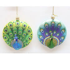 glass disc peacock ornament 4