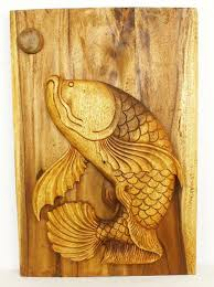 fish wall decor carved monkey pod wood thai 20 x 30
