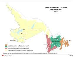 Canada Map Coloured by 1 Newfoundland And Labrador Health Regions 2015