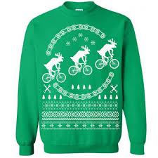 reindeer on bikes christmas sweater last earth clothing