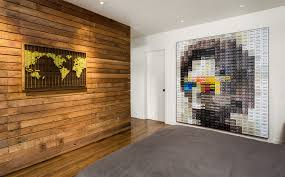 wood wall design houzz tv see recycled walls and cool cassette art in a woodsy diy