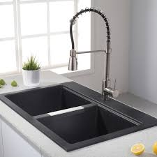 dual mount kitchen sink kraus 33 1 2 inch dual mount 50 50 double bowl onyx kitchen sink