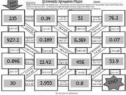 scientific notation maze activity for middle tpt