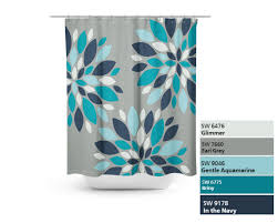 Navy And Coral Shower Curtain Shower Curtain Floral Flower Burst Bath Curtain Grey Teal Navy