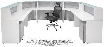 White Desk Glass Top U Shaped 2 Person Glass Top Reception Desk