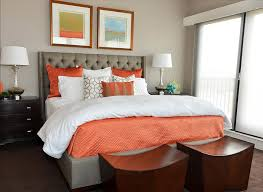 Nightstand Cover Bedroom Orange Bed Cover With Wooden Bedroom Benches Also Orange