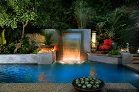 architecture diy backyard waterfall with landscape lighting and