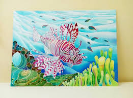 Coral Reef Home Decor Original Silk Painting Handpainted Silk Sea Life Wall Art Picture
