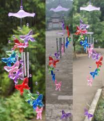 large size 4 colorful butterfly acrylic wind chimes creative