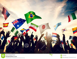 Flag People Group Of People Waving Flags In World Cup Theme Stock Photo