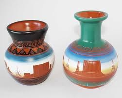 Indian Vases Native American Eatched Pottery Vintage Navajo Arts For Sale