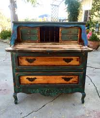 refinished antique desk green w copper u0026 gold undertones on