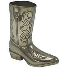 large cast metal western boot vase planter towle silver for sale