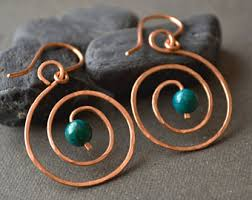 wire earrings copper hoop earrings hammered copper earrings tribal earring gift