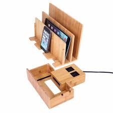 bamboo smart multi device charging station with usb ac power hub
