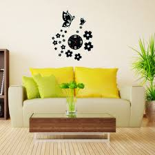 3d wall clocks unique butterfly and flowers design mirror face 1 x wall clock image image image image image