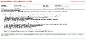 Microbiologist Resume Sample Microbiologist Cv Work Experience
