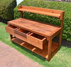 Wooden Potting Benches Eli U0027s Potting Bench Options Old Growth Redwood Casters 2