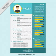 Colorful Resume Template Free Download Blue And Yellow Resume Template Vector Free Download