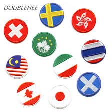 Hk Flag Doublehee 20 Countries Round Flags Embroidered Iron On Patches Us