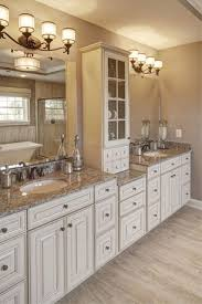 Bathrooms With White Cabinets Traditional Master Bathroom With High Ceiling Complex Granite