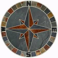floor medallion marble mosaic nautical compass tile 24