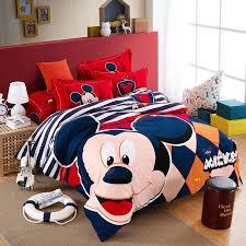 Cheap Bed Duvets Mickey Mouse Stripe Queen King Bed Duvet Cover Flat Sheet Pillow