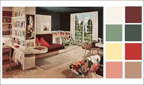 red color schemes for living rooms mid century modern color schemes 1946 armstrong linoleum