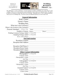 wedding reception planner wedding reception planning worksheet