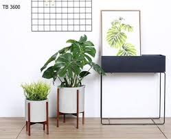 indoor planters concrete planter pot with modern plant wood stand