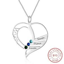 sted personalized jewelry s gift personalized name necklace with birthstone 925 sterling
