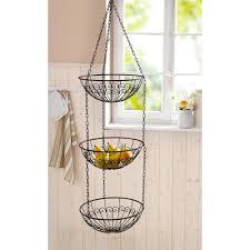3 tier fruit basket 3 tier metal wire hanging fruit bowl basket hd229136 p the home depot