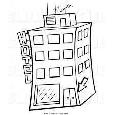 avenue clipart of a black and white hotel building by dero 1809