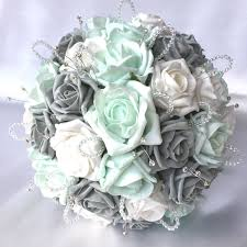 wedding flowers ebay brides posy mint grey white roses diamantes crystals
