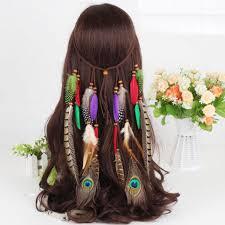 hippie hair accessories hot bohemia style women peacock feather headband hippie hair