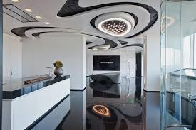 artistic and modern interior design for sales center by zaha hadid