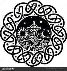 vector image of celtic cross with moon and sun stock vector