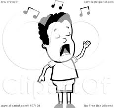 cartoon clipart of a black and white singing boy vector outlined