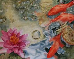 koi fish water lily print watercolour painting 10 x8 pond