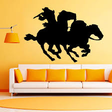popular wall decor cowboys buy cheap wall decor cowboys lots from zuczug black pvc wall stickers equestrian wild west cowboy mustang 3d removable wall decals home decor