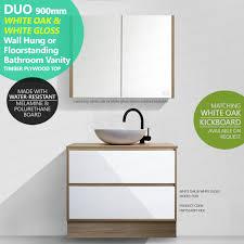 White Oak Furniture Duo 900mm White Oak Wood Grain U0026 White Gloss Polyurethane Vanity