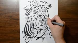 picasso painting the weeping woman in tribal tattoo design form