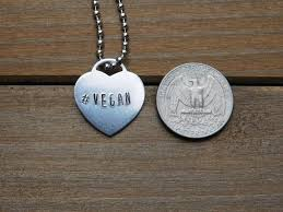 Stamped Jewelry Hashtag Vegan Necklace Heart Pendant Stamped Jewelry Eco Friendly Alum